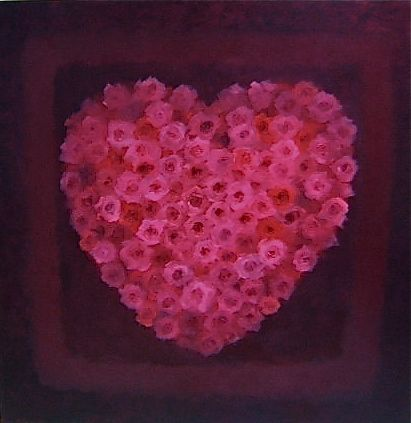 "Heart of Rose Oil on canvas 35"" x 35"" - Lee Campbell"