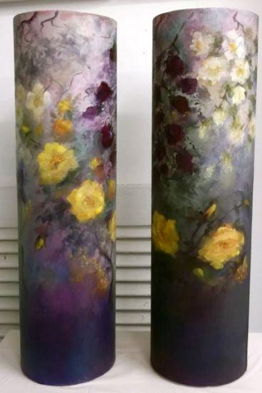 """Tubular Roses - oil on canvas on cardboard 6"""" x 19"""""""