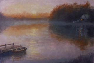 'Jetty in Mist' oil on paper - Lee Campbell
