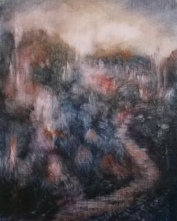 'Mysteryscape' oil on paper Lee Campbell