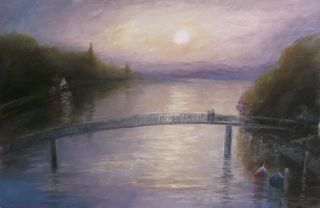 'Eel Pie Dawn' oil on paper Lee Campbell