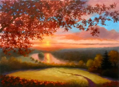 "Petersham Sunset oil on canvas 18"" x 22"""