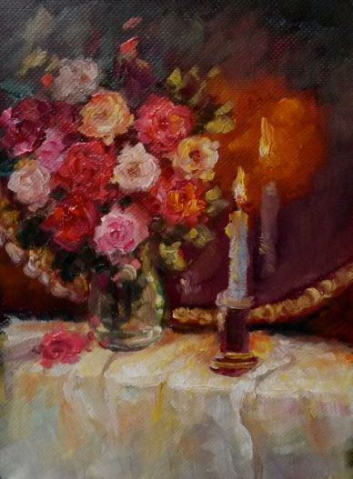 "Candle & Roses oil on paper 6"" x 4"""